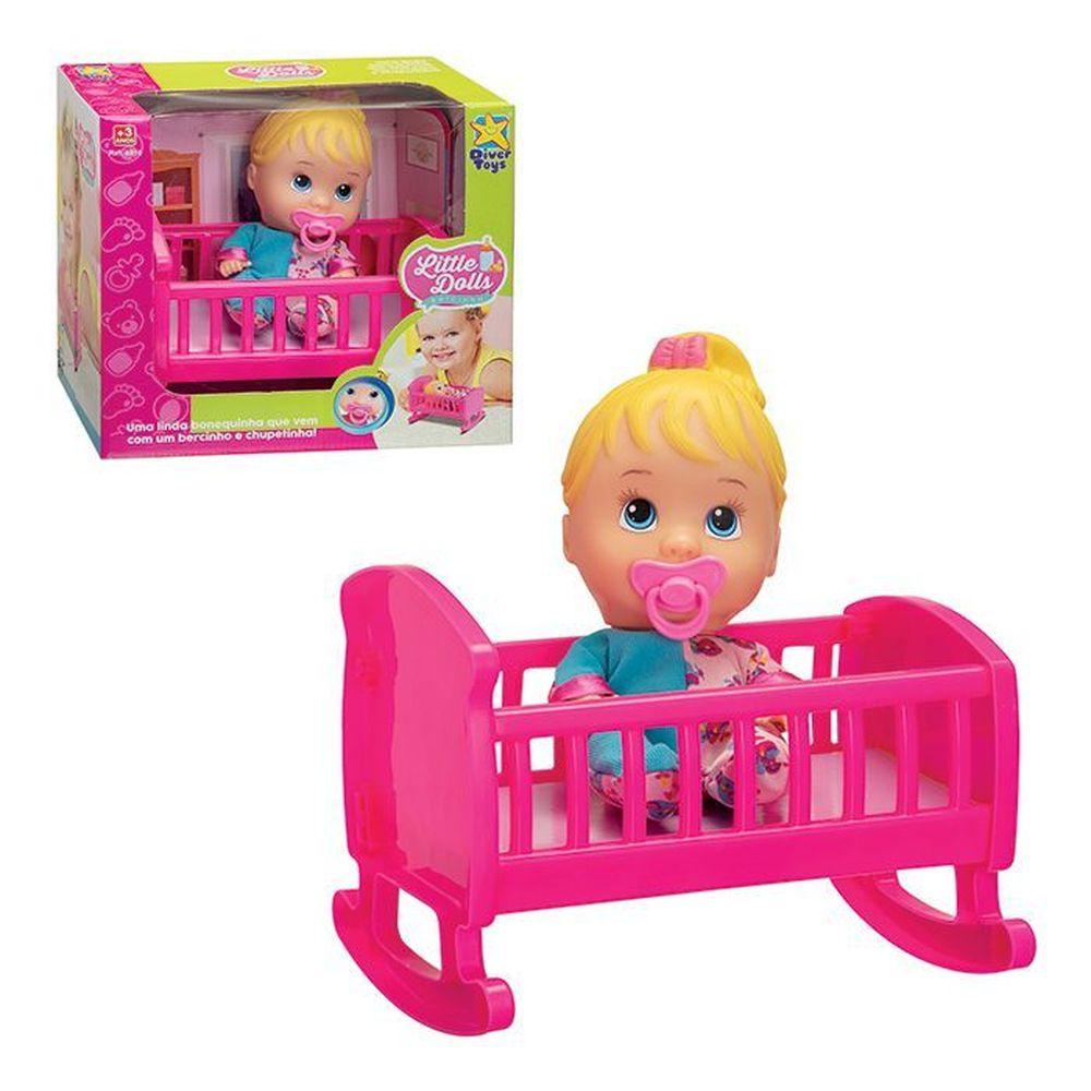 Boneca Baby Little Dolls Bercinho - Divertoys