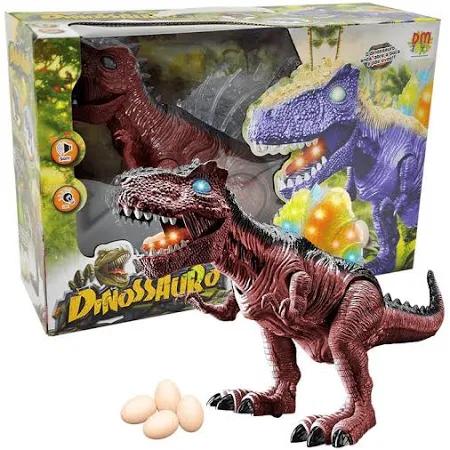 Boneco Dinossauro Marrom Articulado Com Som E Luz - Dmt5134 Dm Brasil