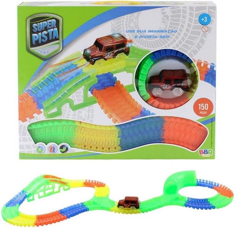 Brinquedo Infantil Carrinho e Pista Fluorescente com 150 peças - R3067 Bbr