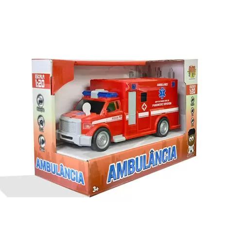 Carro Friccao Ambulancia Com Luz E Som Cores Sortidas, DM Toys