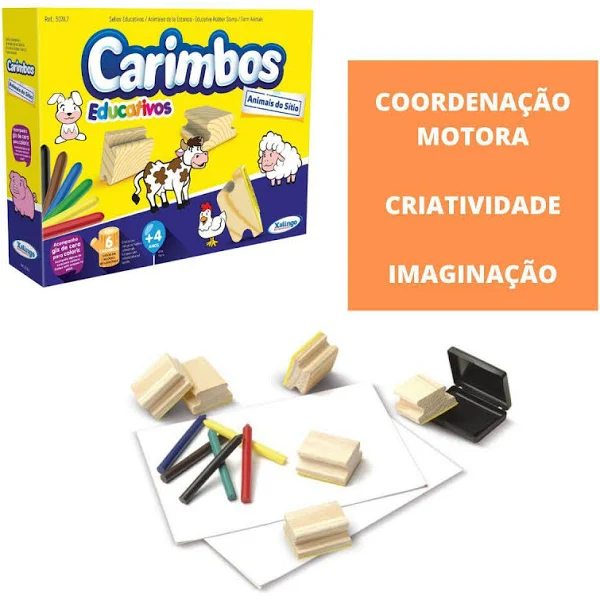 Kit 6 Carimbos Infantil de Madeira Animais Do Sitio - 50787 Xalingo