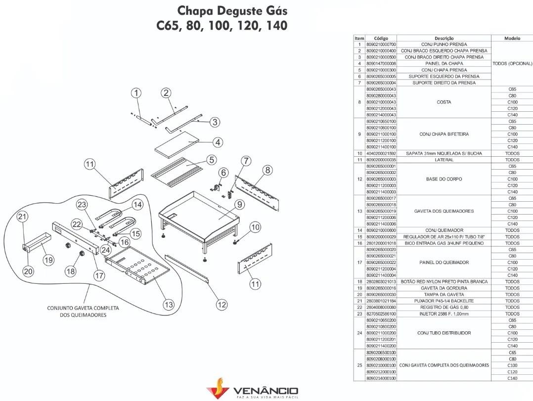 Chapa para Lanche a Gás 1m C100 – Venâncio