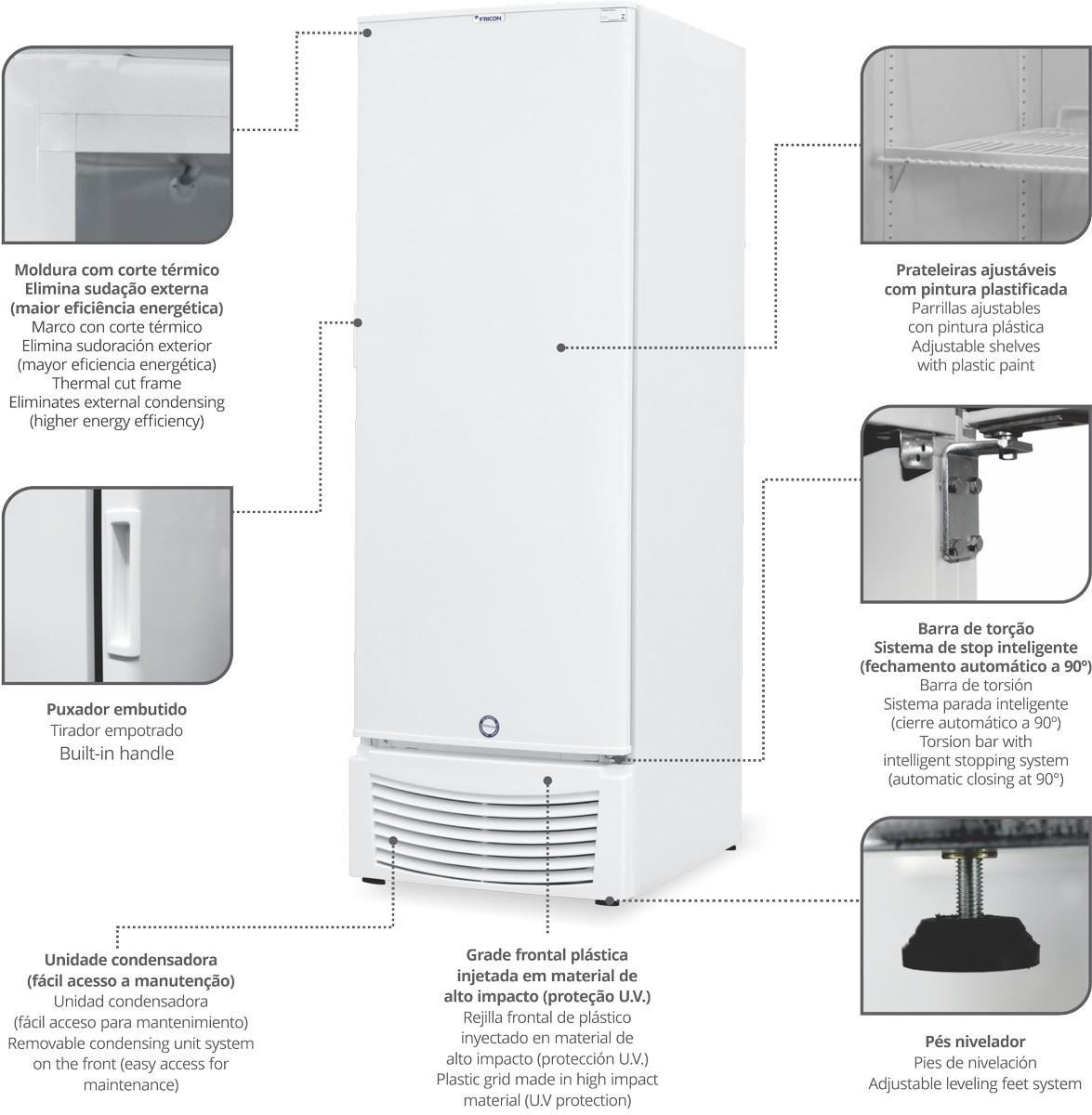 Conservador freezer Congelados VCED569 Preto Porta Cega - Fricon