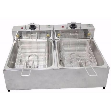 Fritadeira 2 Cubas Elétrica 10 Litros em Aço Inox – Stevan metal