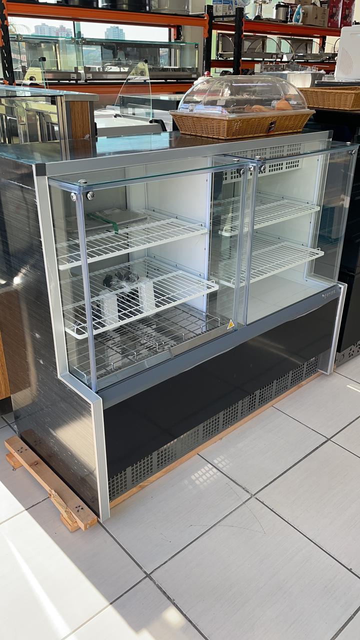 Vitrine expositora dupla refrigerada e aquecida 1,40 vidro reto 220v q/f - Gelopar