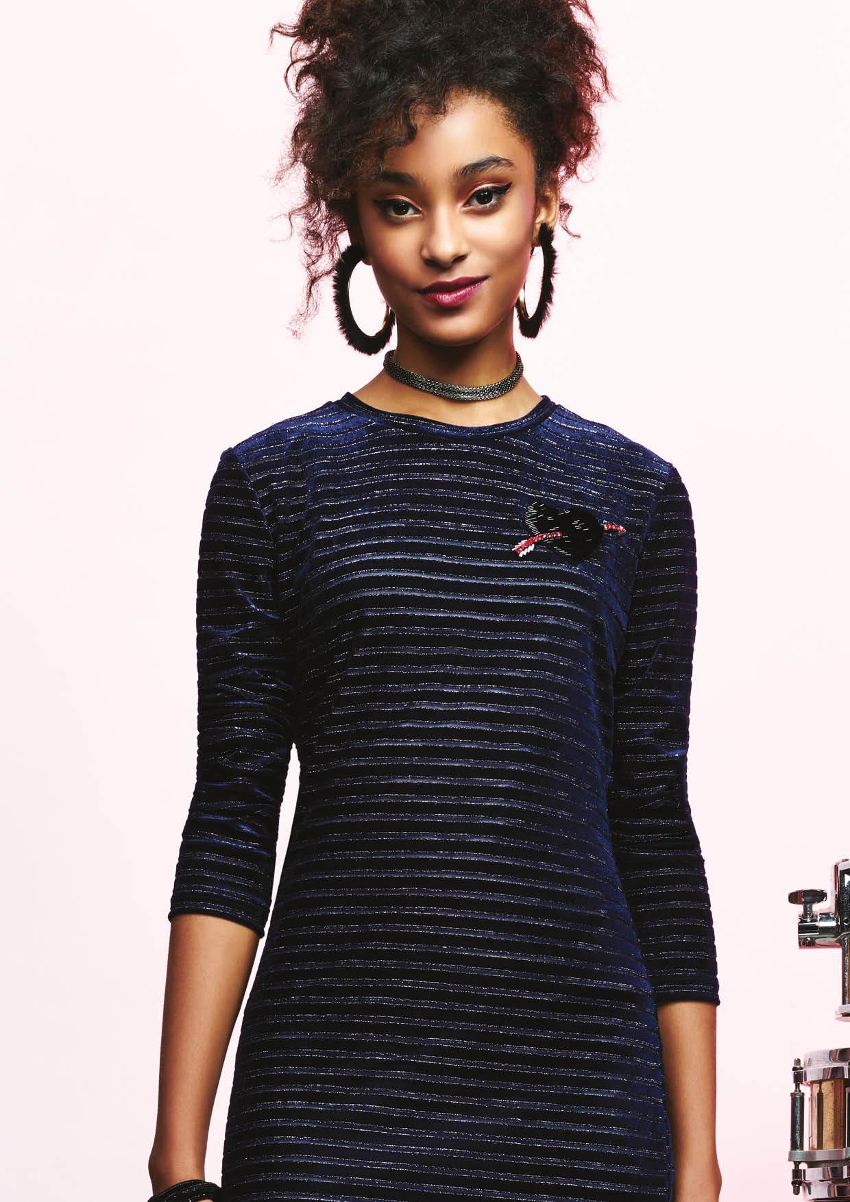 Vestido Velvet Stripes