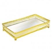Bandeja dourada com espelho 24 cm