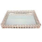 Bandeja rose com espelho 30 cm
