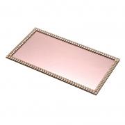 Bandeja rose com espelho e pedraria 32 cm