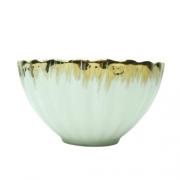 Bowl de cerâmica branco com dourado