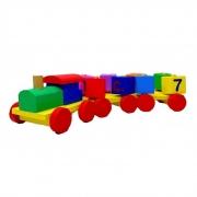 Brinquedo educativo trem com blocos