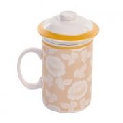 Caneca com tampa e filtro infusor de chá