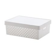 Cesto organizador com tampa Quadratta branco 29x19x12