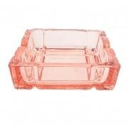 Cinzeiro quadrado em vidro rose 9,3 cm
