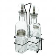 Galheteiro de vidro com suporte Lyor 5 peças
