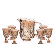 Conjunto de jarra com 6 taças em cristal Prima Lyor