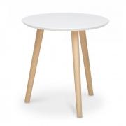Mesa lateral triangular em madeira com base tripé