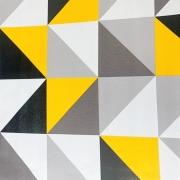 Papel de parede geométrico cinza com amarelo 5 metros