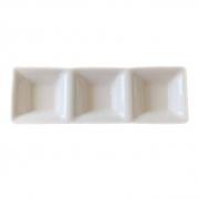Petisqueira de porcelana com 3 divisórias