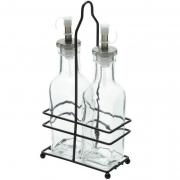 Galheteiro de vidro com suporte Lyor 3 peças