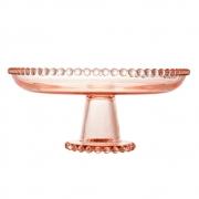 Prato de cristal rosa com pé Pearl Wolff 20 cm