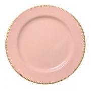 Sousplat rosa com dourado 25 cm