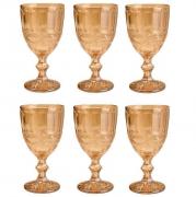 Taças de vidro âmbar metalizado Libélula Lyor 6 peças