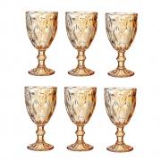 Taças de vidro âmbar metalizado Diamond Lyor 6 peças