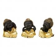 Trio sabedoria Buda preto com dourado