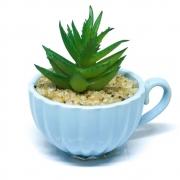 Vaso de cerâmica com mini planta artificial