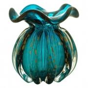 Vaso em vidro azul marinho e rose Italy Lyor