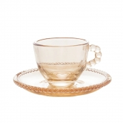 Conjunto 4 xícaras para café com pires de cristal âmbar Pearl Wolff