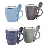 Conjunto 4 canecas para café com colher Listras