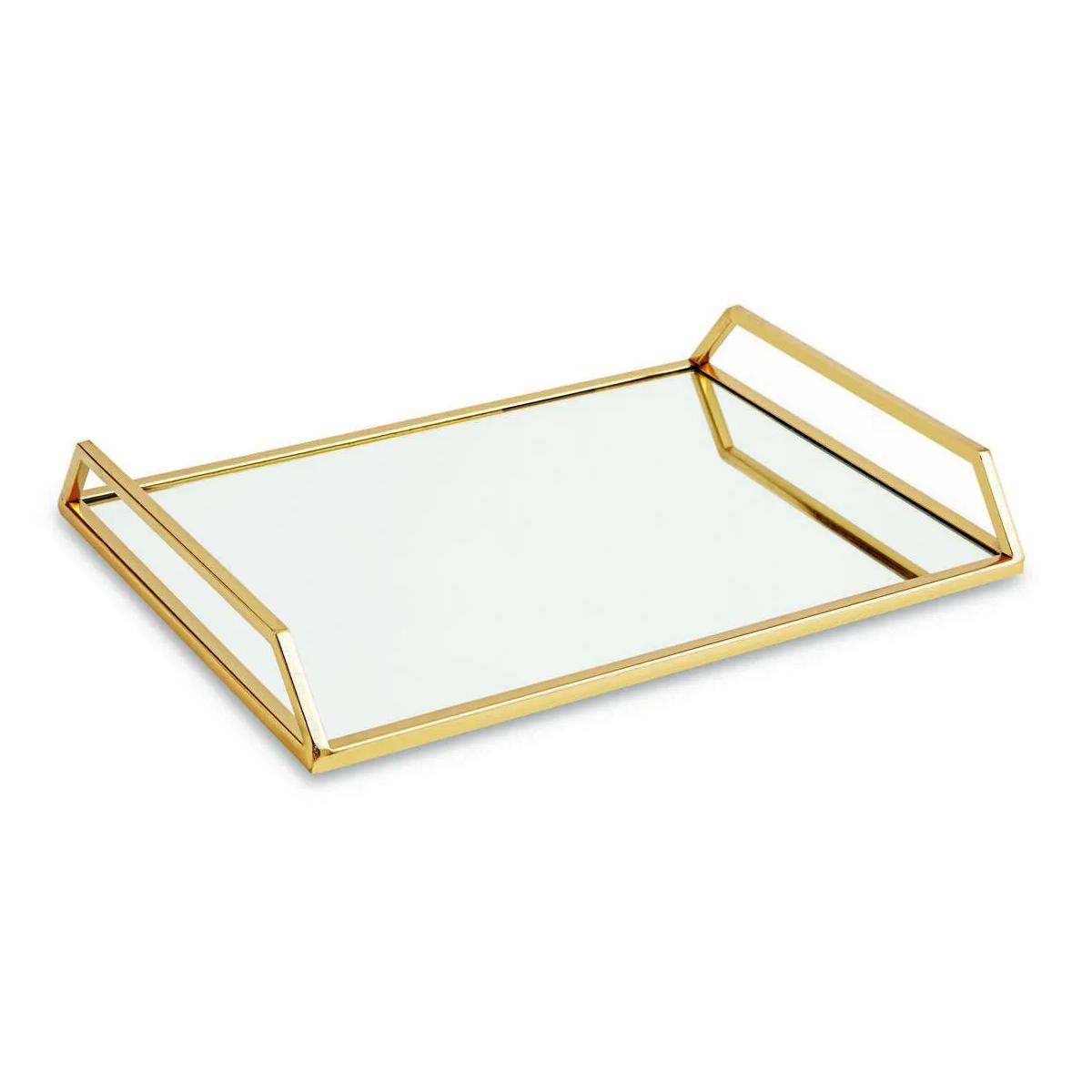 Bandeja dourada com espelho 28,3 cm