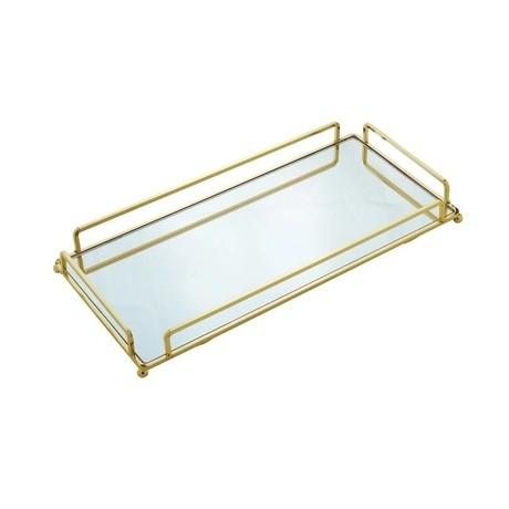 Bandeja dourada com espelho 34 cm