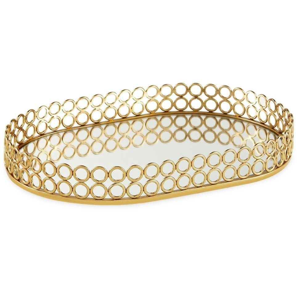 Bandeja dourada com espelho 36,5 cm