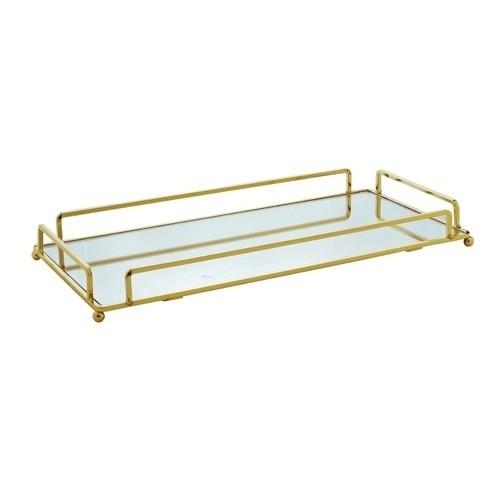 Bandeja dourada com espelho 36 cm