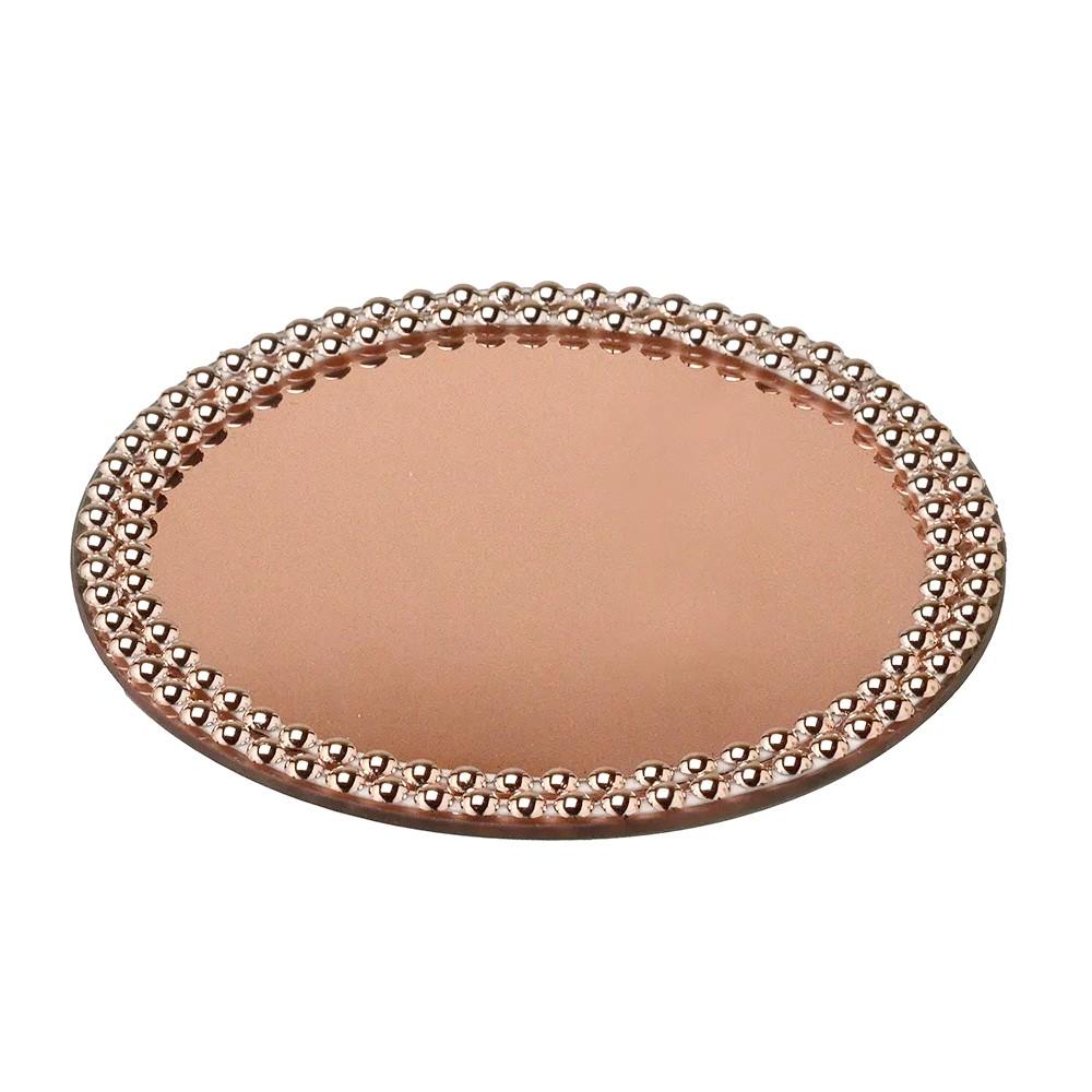 Bandeja rose com espelho 20 cm