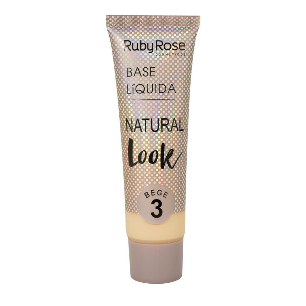 BASE LÍQUIDA NATURAL LOOK BEGE 3 RUBY ROSE