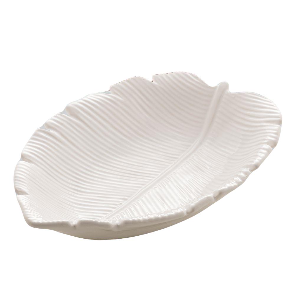 Bowl decorativo de cerâmica branca Banana Leaf Lyor