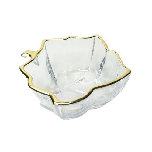 Bowl de vidro transparente com dourado