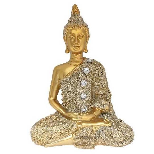 Escultura Buda em Lótus com pedraria 12 cm