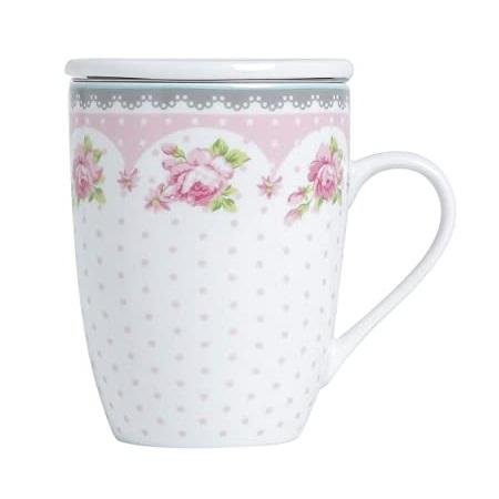 Caneca com tampa e filtro infusor de chá Rose Lyor