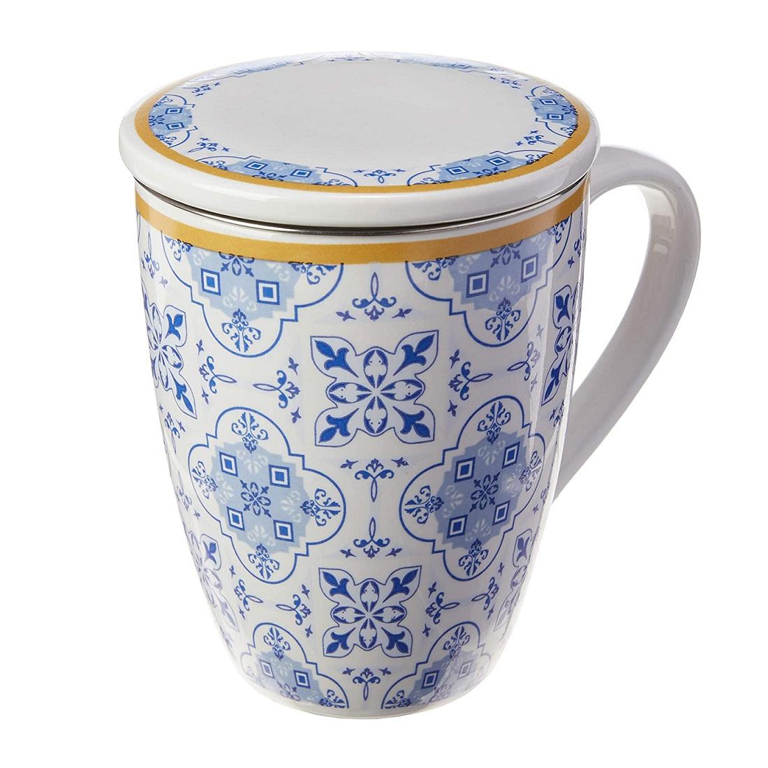 Caneca com tampa e filtro infusor de chá Lisboa Lyor
