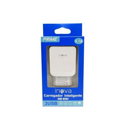CARREGADOR INTELIGENTE INOVA 5.1A 3 USB CAR-8562