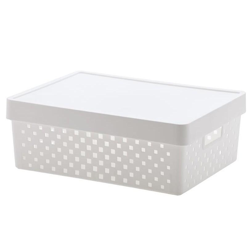 Cesto organizador com tampa Quadratta branco 39x29x14