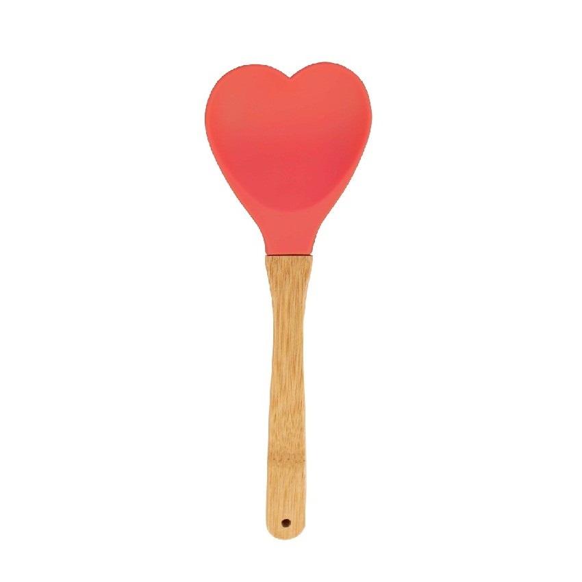 Colher Coração de silicone com cabo em bambu