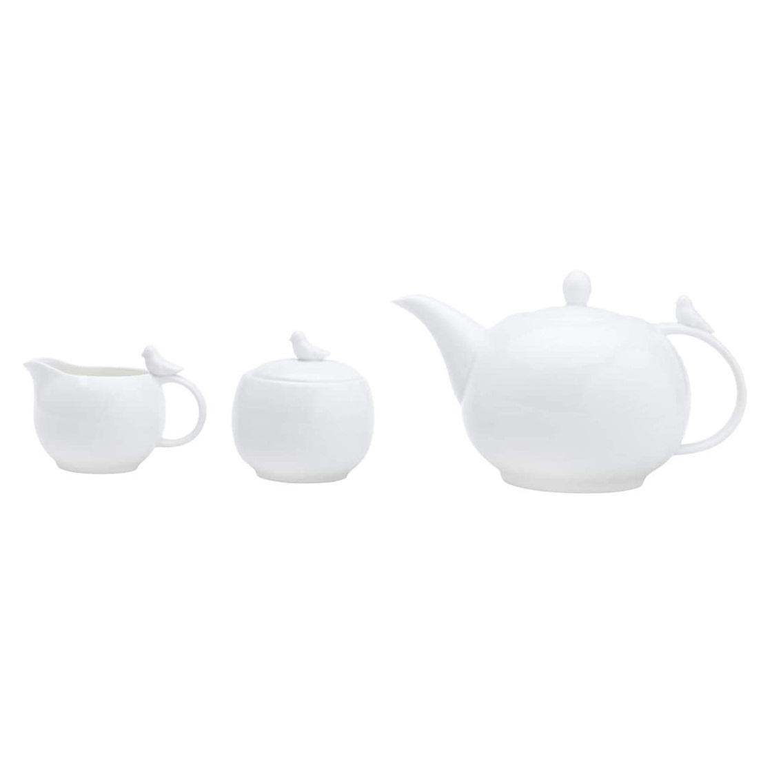 Conjunto para servir chá e café em porcelana Birds 3 peças