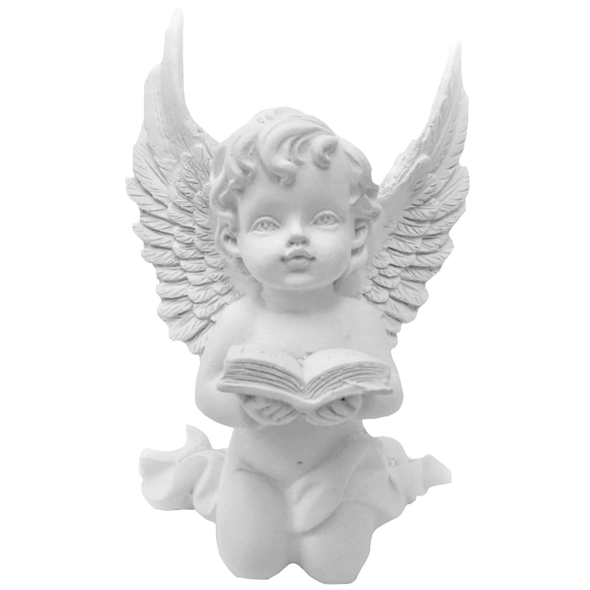 Anjo em resina branca