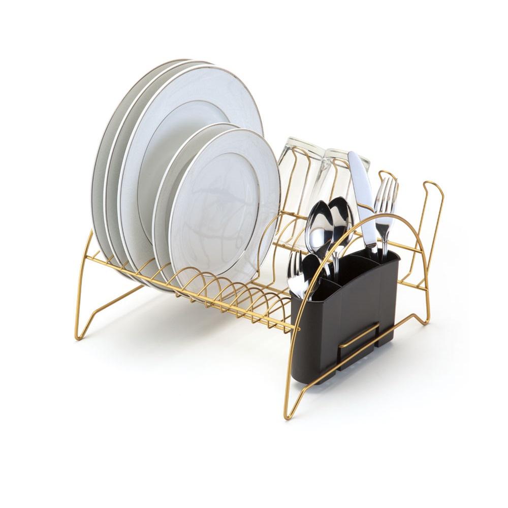 Escorredor de louça Fan em aço dourado